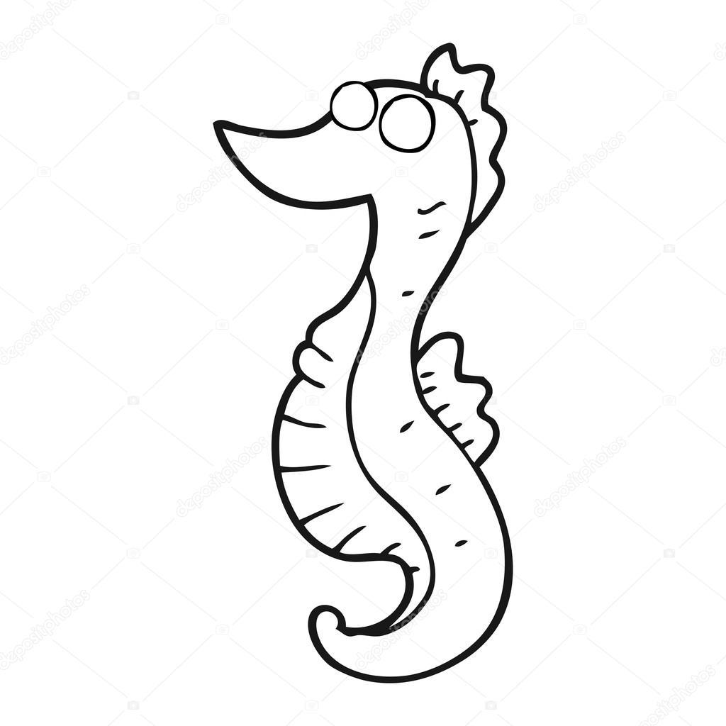Caballito de mar dibujos animados blanco y negro — Vector de stock ...
