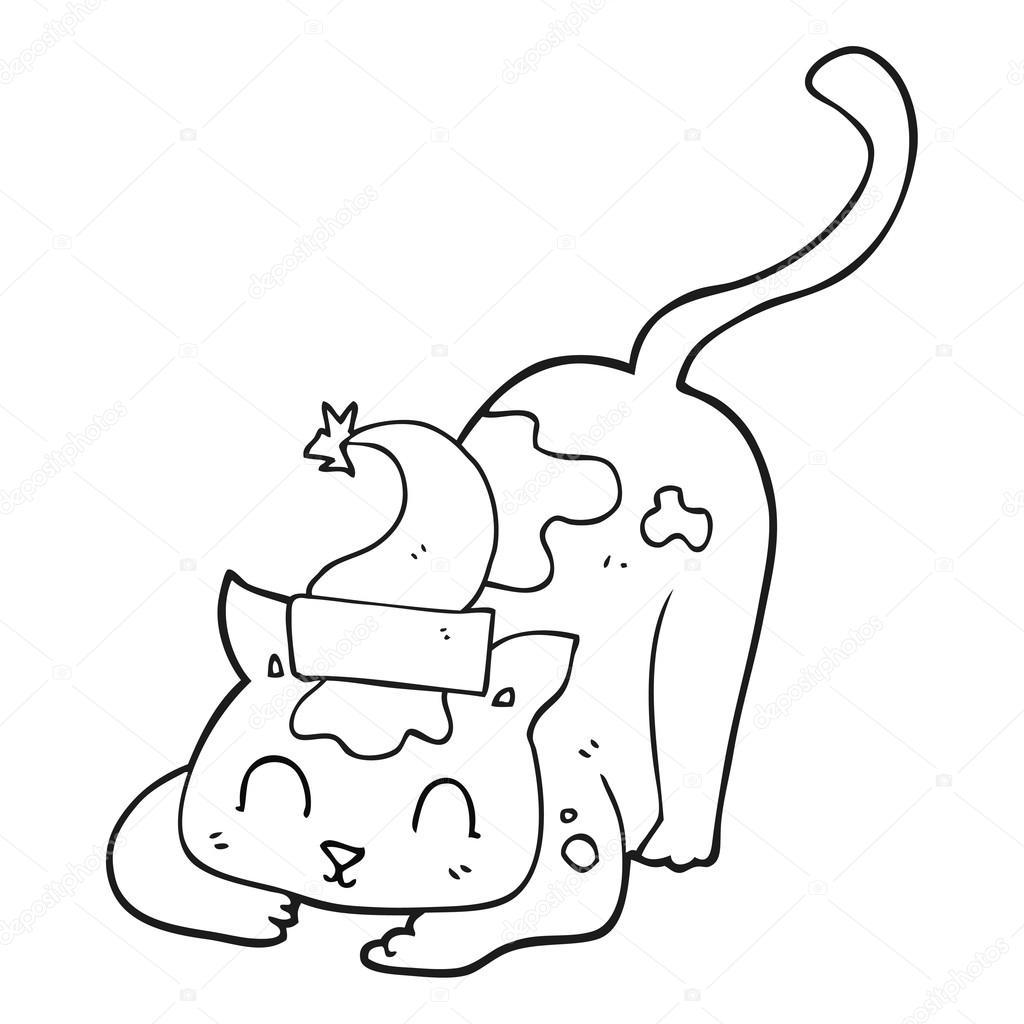 dibujos animados blanco y negro gato con sombrero de Navidad ...