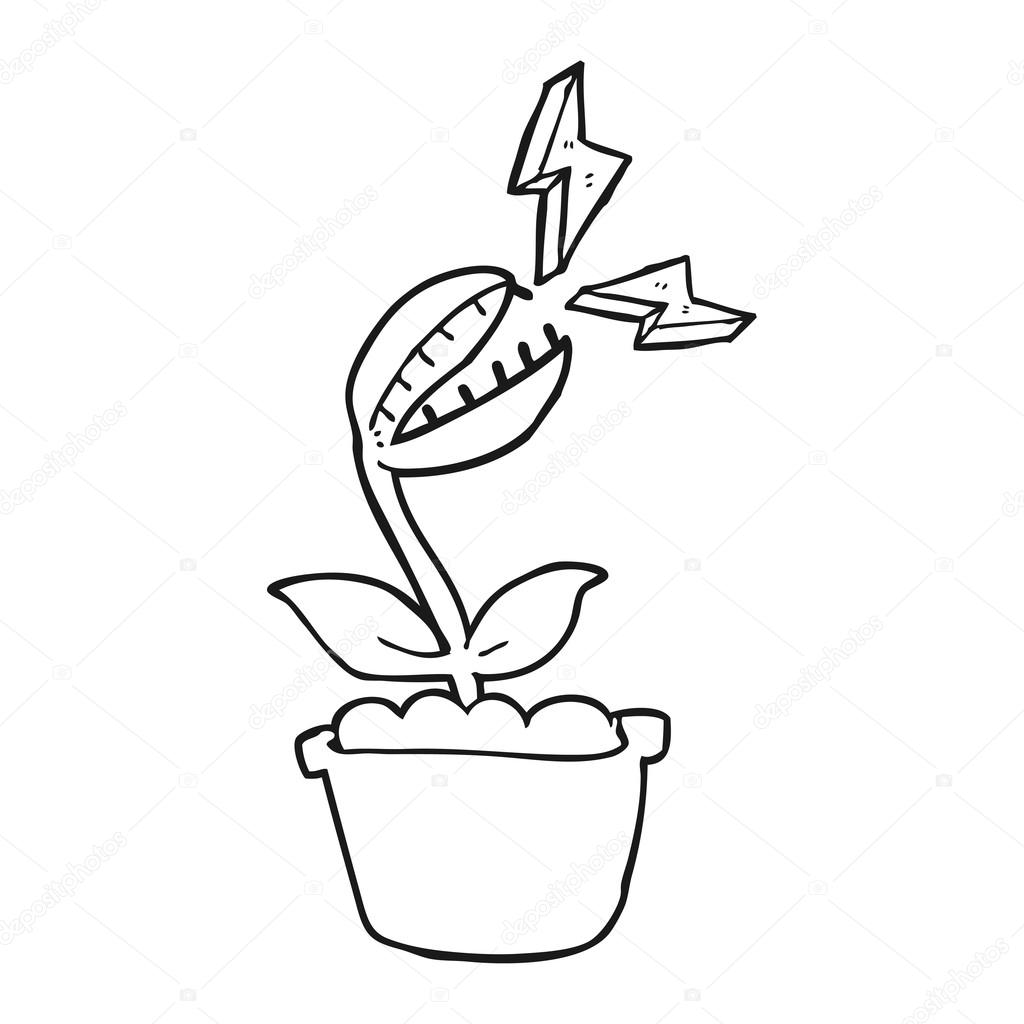 black and white cartoon venus fly trap u2014 stock vector