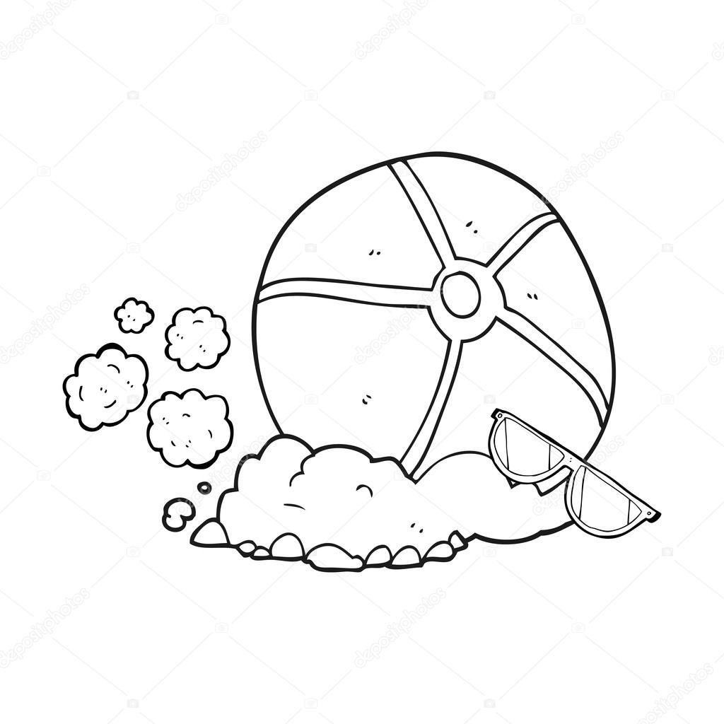 Ballon De Plage Dessin Animé Noir Et Blanc Image Vectorielle