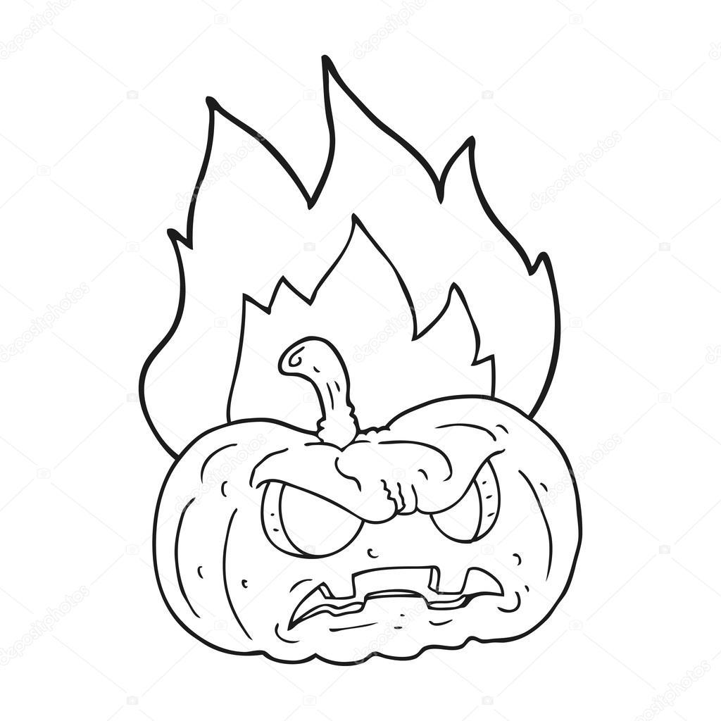 calabaza de halloween de dibujos animados blanco y negro — Archivo ...