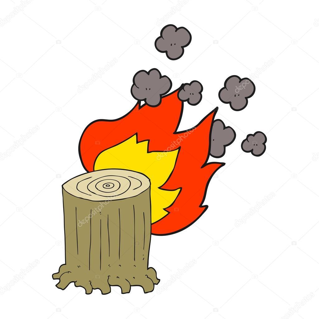 Cartoon Tree Stump On Fire Stock Vector C Lineartestpilot 96463644