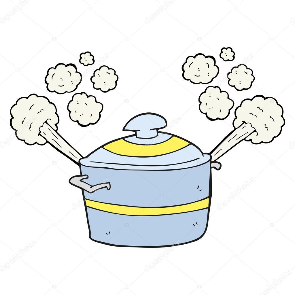 Dessin Marmite dessin animé à la marmite de cuisson vapeur — image vectorielle