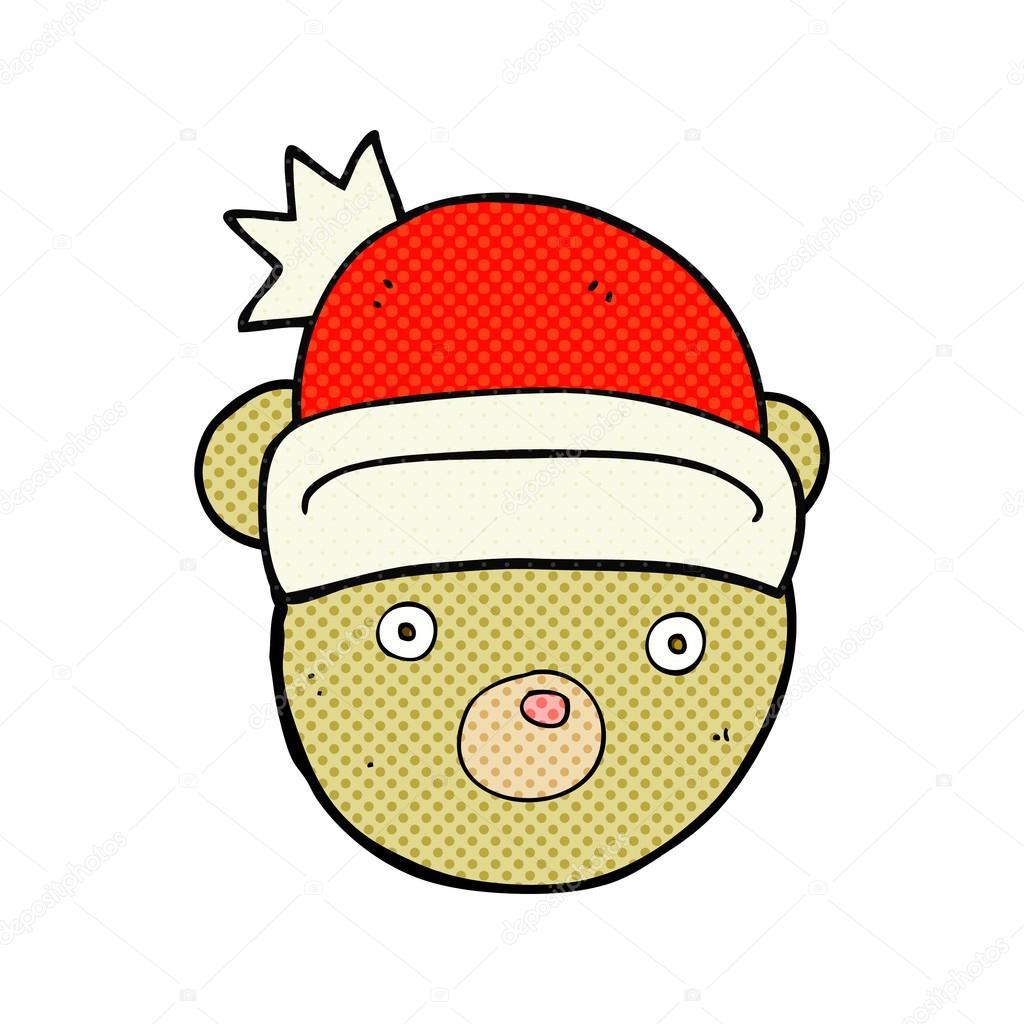 Ours En Peluche Dessin Anime Portant Chapeau De Noel Image