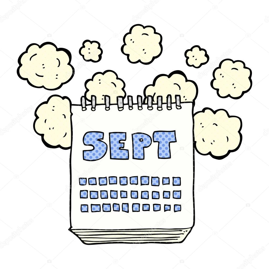 Calendario Dibujo Septiembre.Calendario De Dibujos Animados Que Muestra Mes De Septiembre