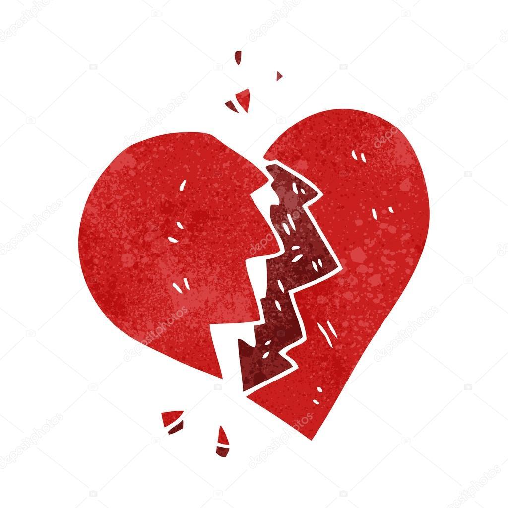 Retro Dibujos Animados Corazón Roto