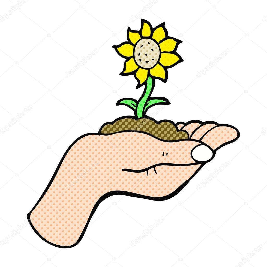 Dessin anim la fleur poussant dans la paume de la main image vectorielle lineartestpilot - Dessin de la main ...