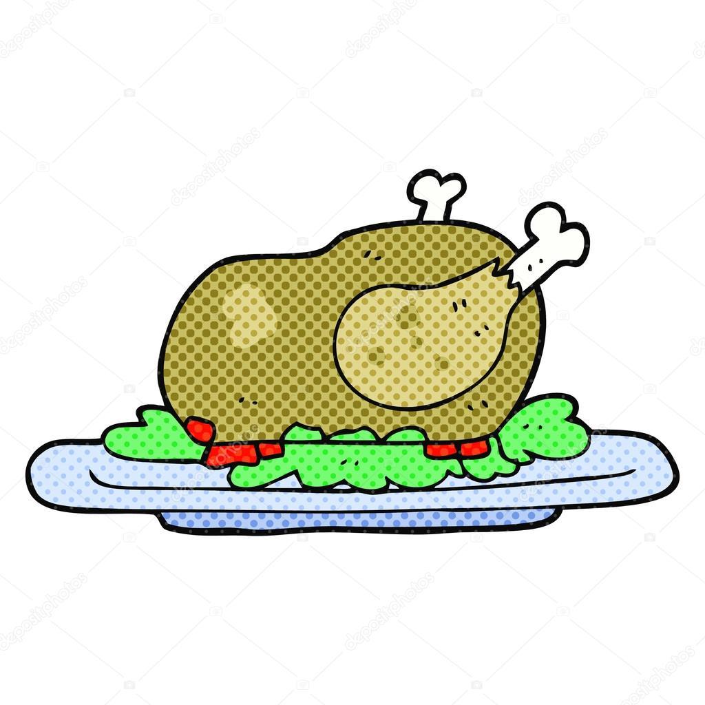 dibujos animados de pavo cocido — Vector de stock © lineartestpilot ...