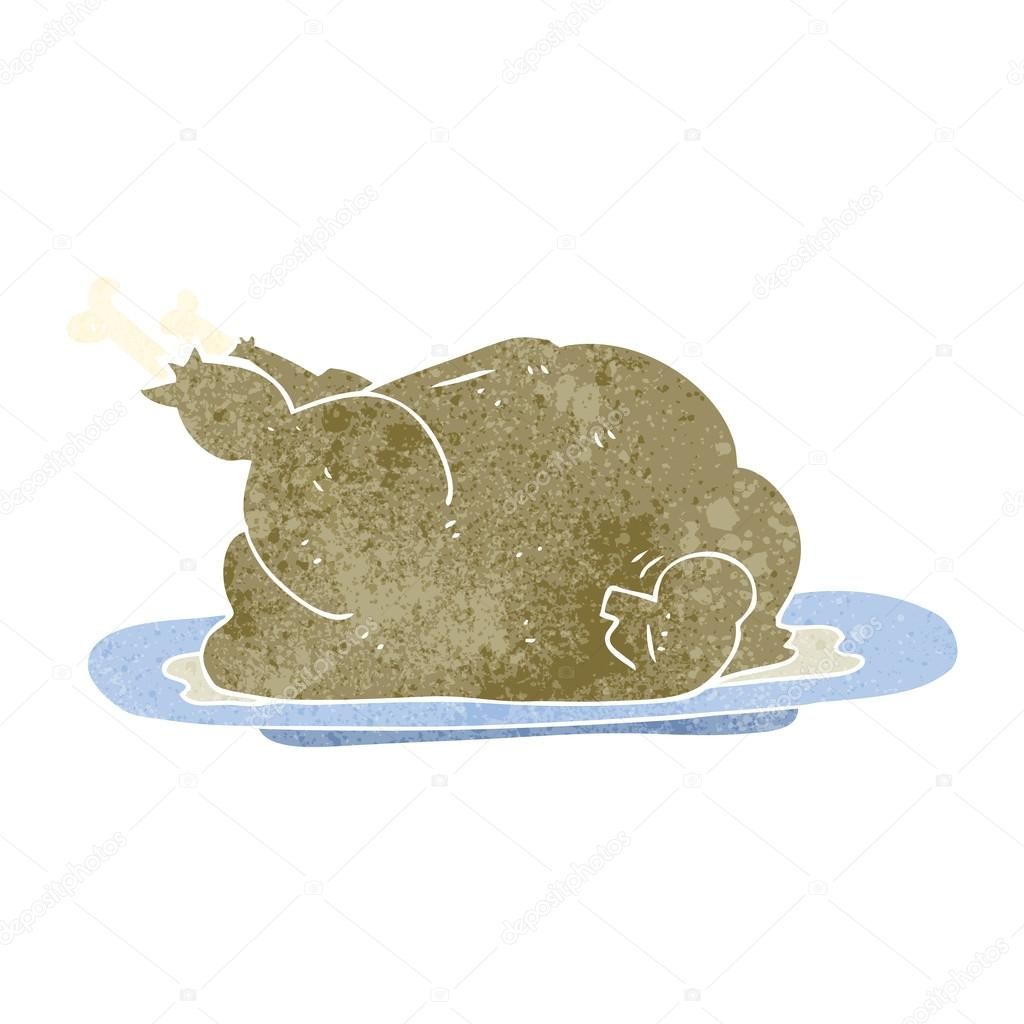 Retro Cartoon Cooked Chicken Stock Vector