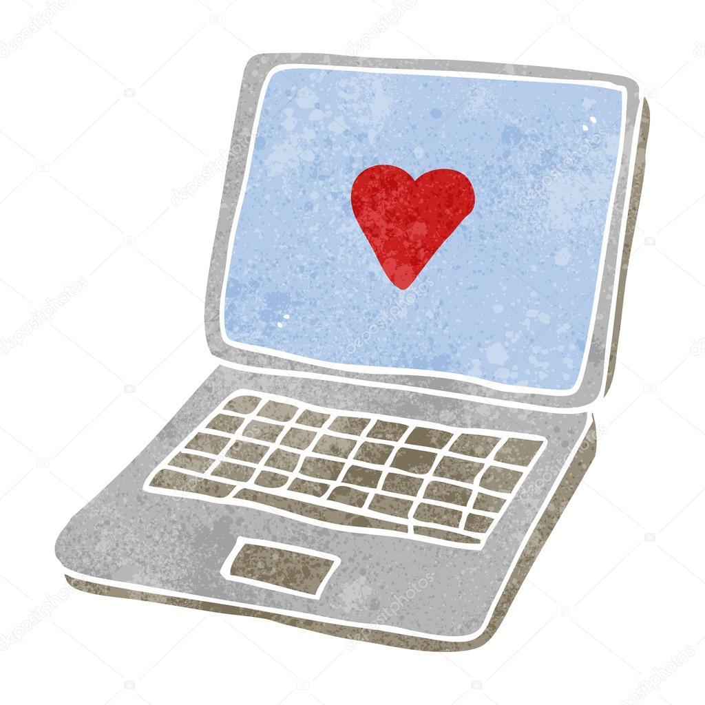 Retro cartoon laptop computer with heart symbol on screen stock retro cartoon laptop computer with heart symbol on screen stock vector buycottarizona Choice Image