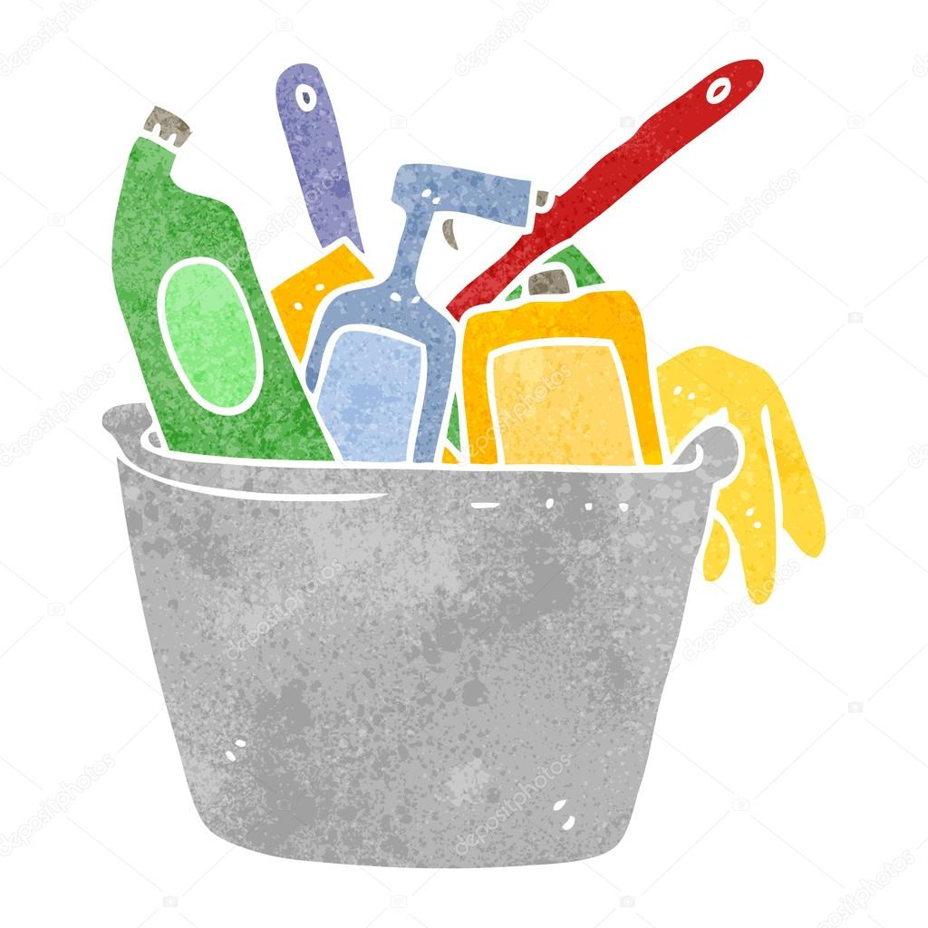 cleaning products retro cartoon — Stock Vector ...