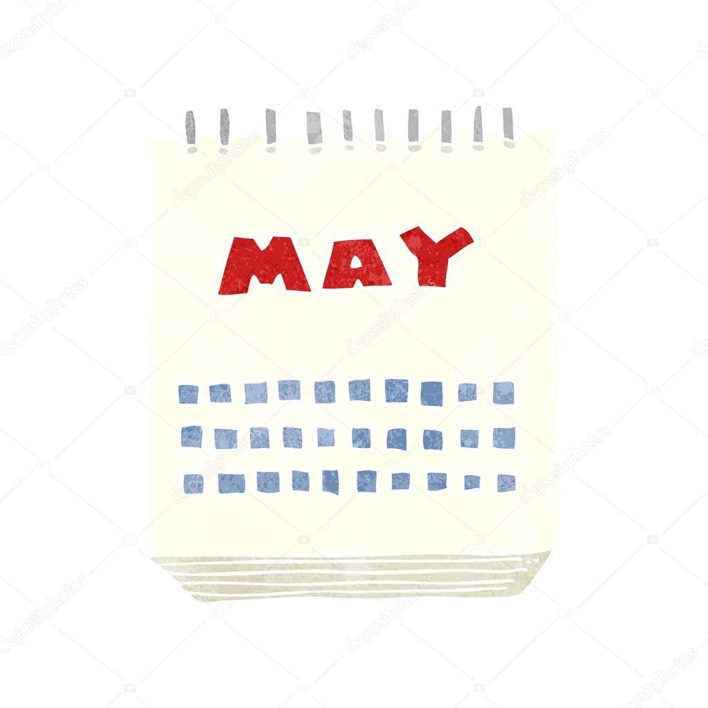 Calendar Showing May : Retro cartoon calendar showing month of may — stock vector