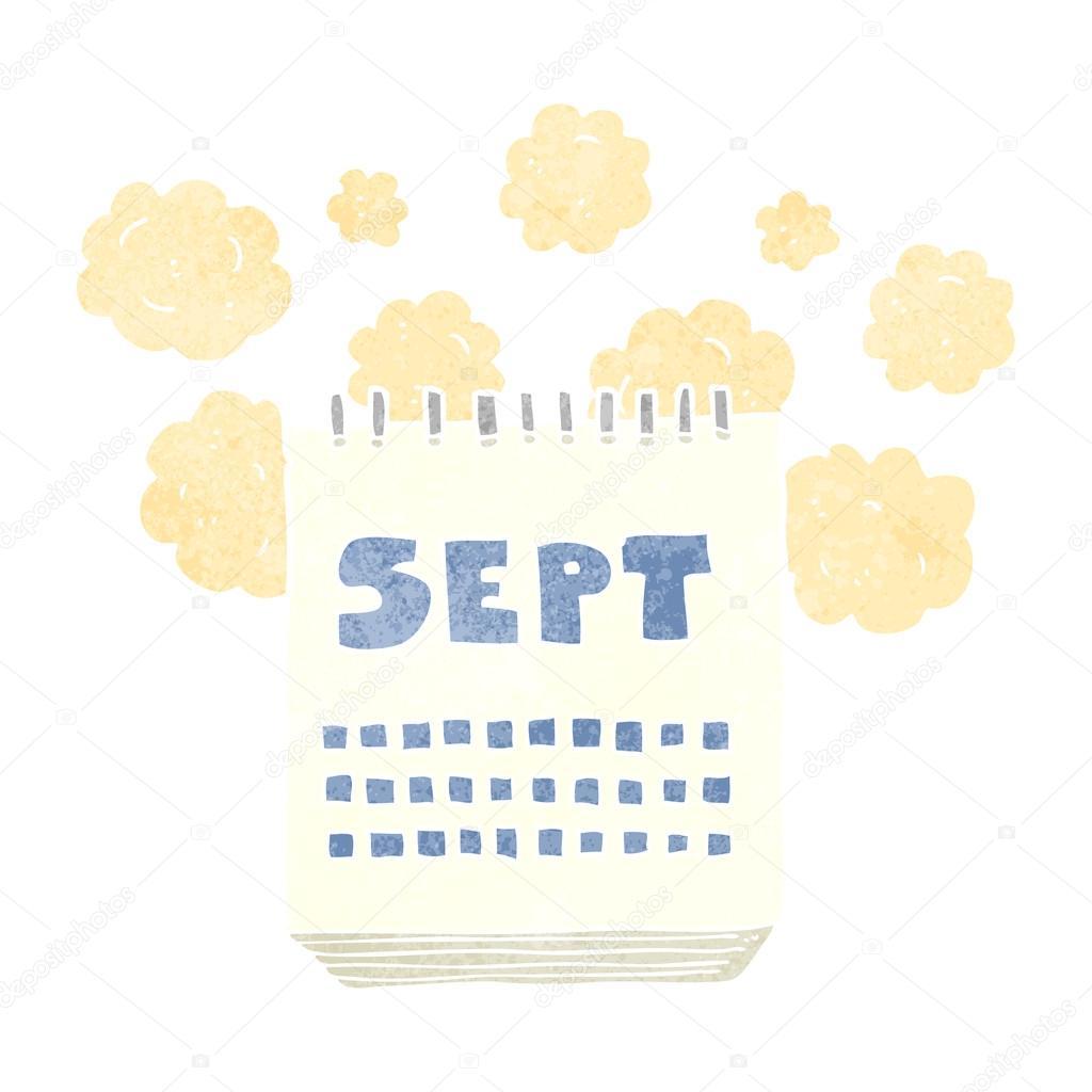 Calendario Dibujo Septiembre.Mes De Mostrar Dibujos Animados Retro Calendario De