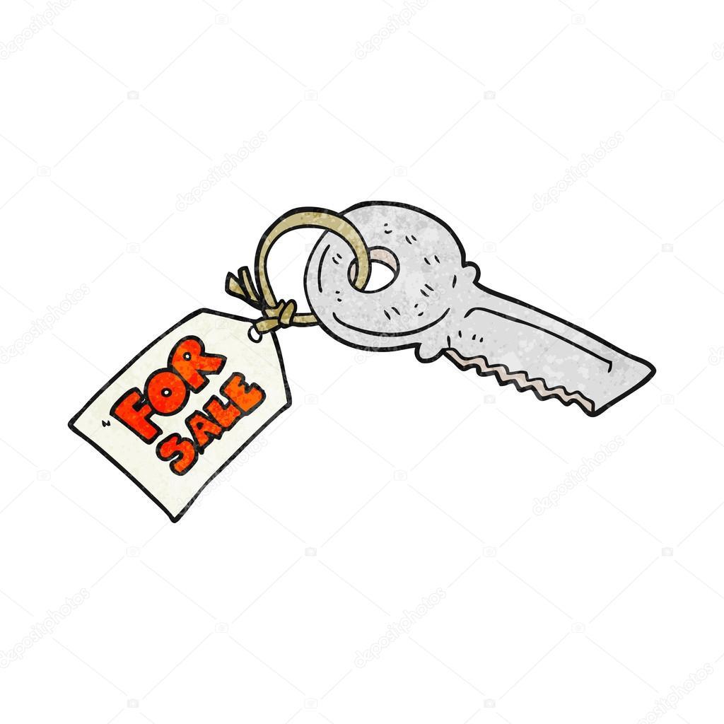 Clé de maison dessin animé texturé avec pour étiquette de vente illustration de stock