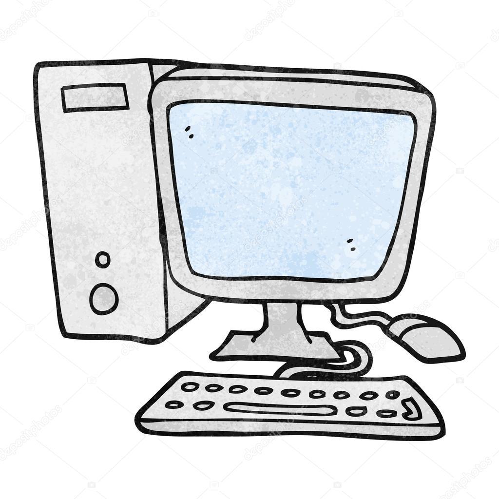 Ordinateur de bureau de dessin animé texturé — Image vectorielle