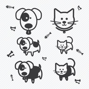 Cat and Dog icons. illustration eps10