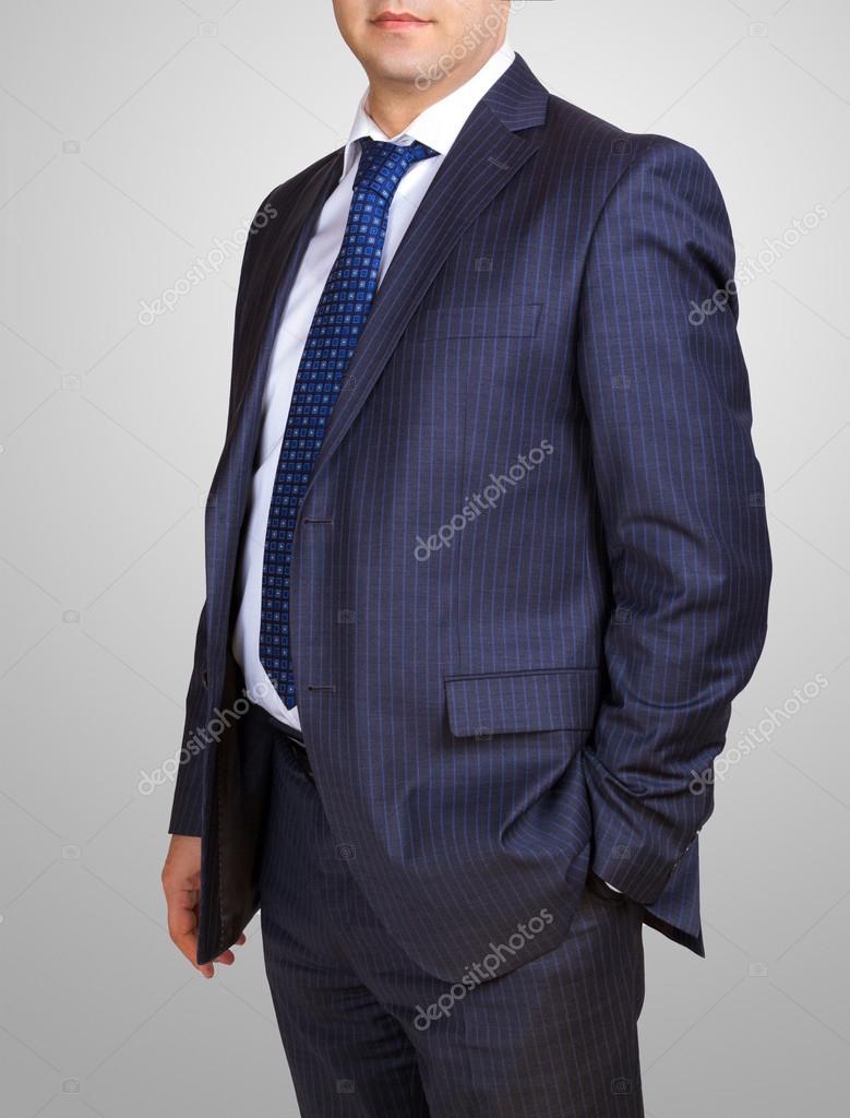 Strenge Anzug Mit Weißem Hemd Und Blaue Krawatte Hand In