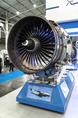 Aircraft engine. The Ukrainian-made D-436-148FM turbojet aircraft engine IVCHENKO PROGRES at the international exhibition ARMS AND SECURITY - 2021. Selective focus. Kiev. Ukraine - June 18, 2021.