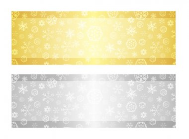 Christmas gift certificate with snowflake pattern in gold and silver color