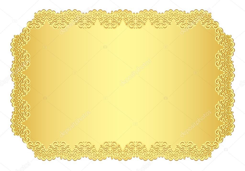 convite de luxo dourado com borda de renda — Vetores de ...