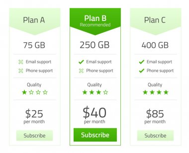 Pricing list for 3 plans in light flat design with green elements