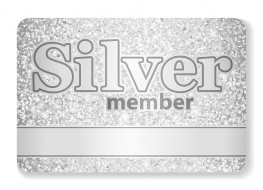 Silver member VIP card composed from glitters