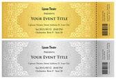 Luxusní zlaté a stříbrné divadelní lístek s vintage vzorem