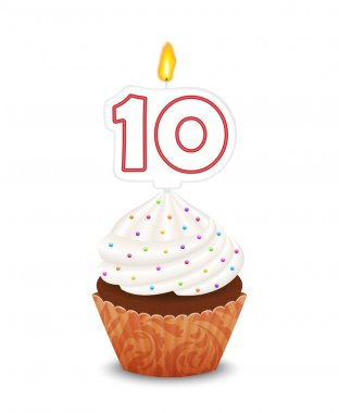 Birthday cupcake with candle number ten shape