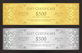 Photo Luxury golden and silver voucher with vintage ornament