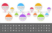 Timeline template in sticker style with set of icons. White background