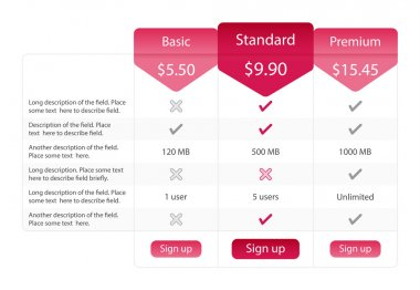 Light pricing table with 3 options and one recommended plan. Raspberry bookmarks and buttons.