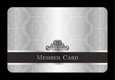 Luxury silver member card with vintage floral pattern