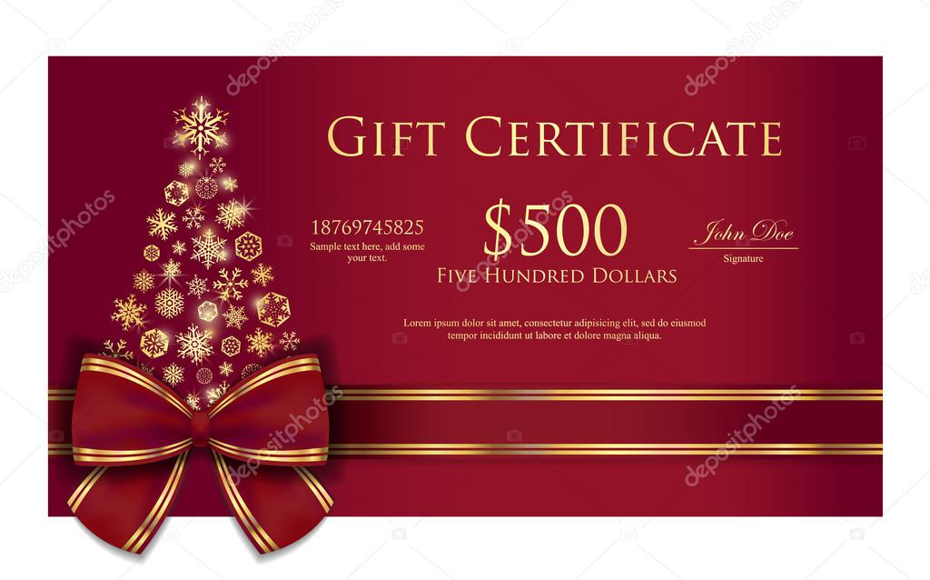 Christmas gift certificate with tree composed from golden snowflakes