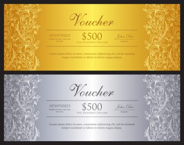 Gold and silver voucher with ornamental floral pattern