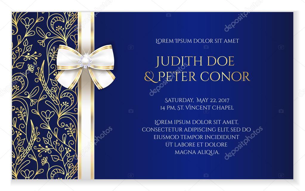 faire part mariage romantique bleu royal avec ornement floral dor image vectorielle liliwhite. Black Bedroom Furniture Sets. Home Design Ideas