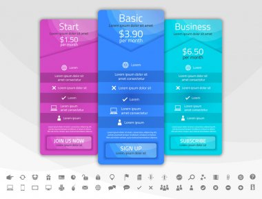 Purple, blue and turquoise pricing list with 3 options. Different shapes of tables. Icon set included