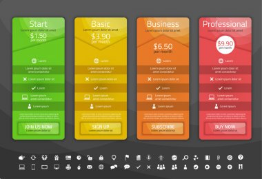 Colorful pricing list with 4 options. Different shapes of tables. Icon set included