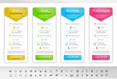 Light pricing table with 4 options. Icon set included