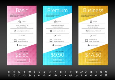 Modern pricing list with 3 options in turquoise, blue and raspberry color. Set of icons included