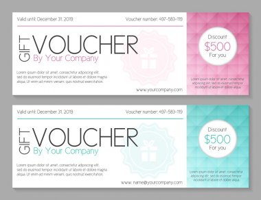 Simple modern voucher with watermark and geometric decoration
