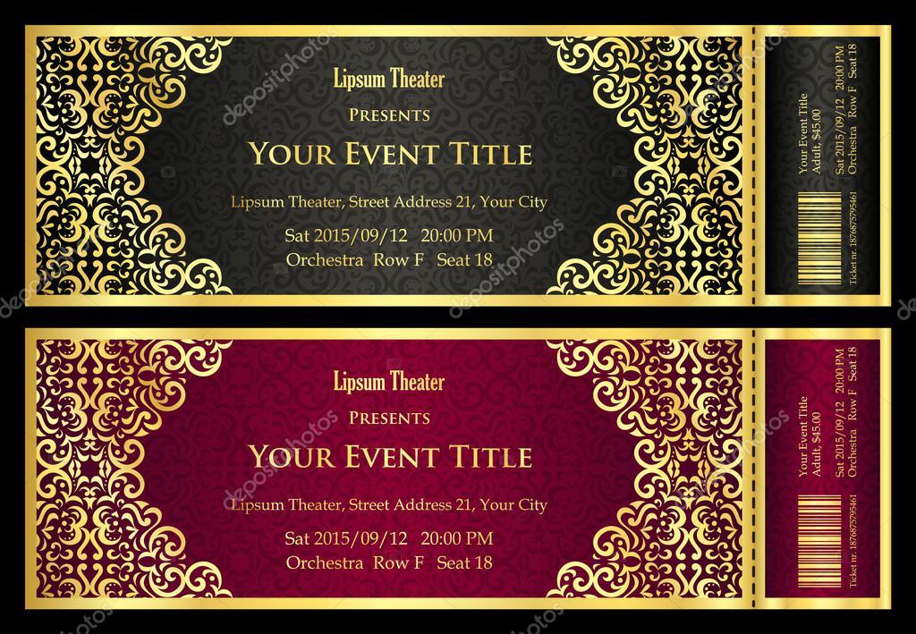 Luxus golden und Silber Theater ticket mit Jahrgang Muster ...