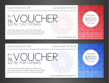 Modern simple voucher with watermark and red and blue pattern decoration