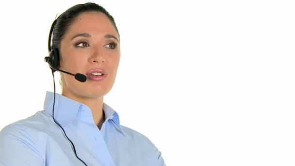 Phone operator with headset at call center