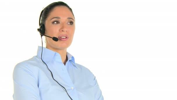 Woman phone operator at call center