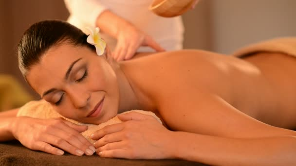 Woman Having Oil Massage At Spa Stock Video