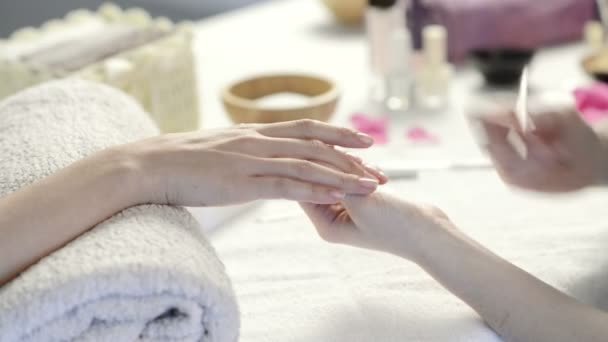 Woman receiving a french manicure