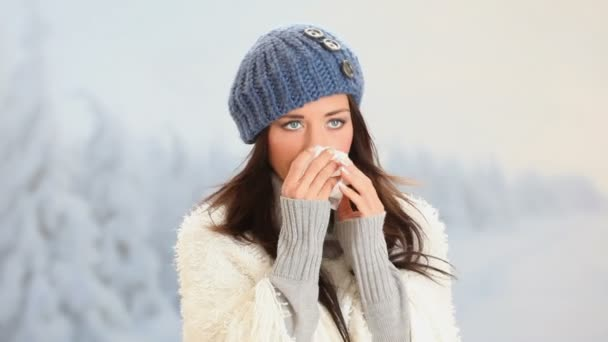 Girl has flu and fever in winter day