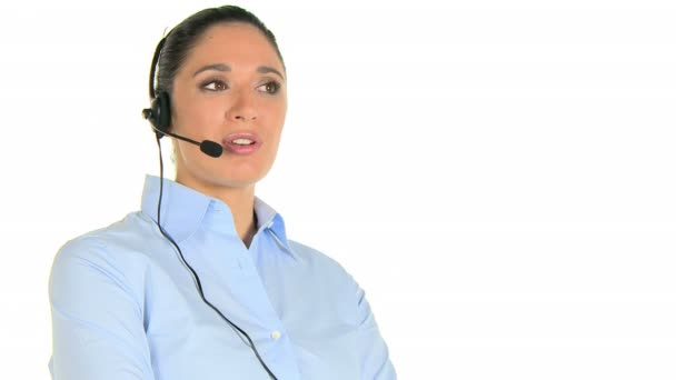 Woman phone operator at call center
