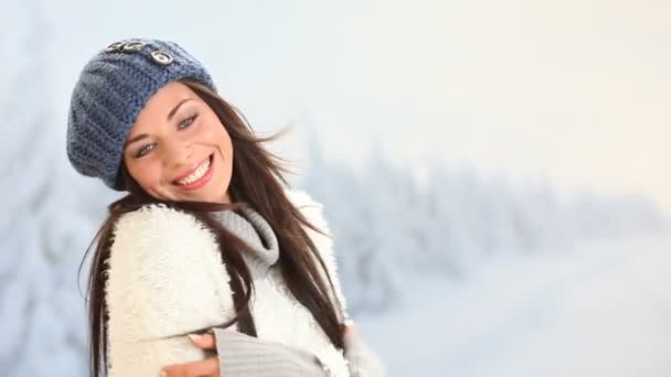 Woman smiling in a winter day