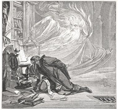 Faust is speaking with Spirit - illustration from Faust